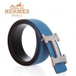 HERMES 0121 愛馬仕H字馬拉車拉絲銀間玫瑰金天藍色原版皮皮帶