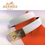 HERMES 0022 愛馬仕金色鏤空馬型扣白色原版皮皮帶
