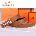 HERMES 0043 愛馬仕H字玫瑰金扣土黃色原版皮皮帶