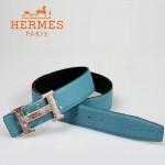 HERMES 0013 愛馬仕H字銀色蛇紋扣天藍色原版皮皮帶