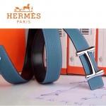 HERMES 0094 愛馬仕H字銀扣天藍色原版皮皮帶