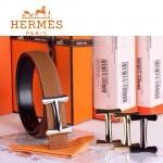 HERMES 0029 愛馬仕H字銀扣土黃色原版皮皮帶