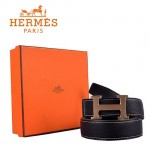 HERMES 0010 愛馬仕H字金扣黑色原版皮皮帶