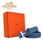 HERMES 005 愛馬仕H字銀扣藍色原版皮皮帶