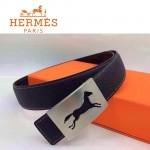 HERMES 0017 愛馬仕銀色鏤空馬型扣黑色原版皮皮帶