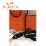 HERMES 0063 愛馬仕H字銀扣黑色原版皮皮帶