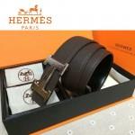 HERMES 0053 愛馬仕H字銀扣深咖色原版皮皮帶