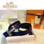 HERMES 0042 愛馬仕H字鑲鑽銀扣藍色鱷魚皮原版皮皮帶