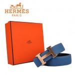 HERMES 007 愛馬仕H字金扣藍色原版皮皮帶
