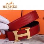 HERMES 0049 愛馬仕H字金扣紅色原版皮皮帶