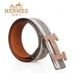 HERMES 0128 愛馬仕H字蛇皮紋玫瑰金扣喜馬拉雅蜥蜴皮兩用原版皮皮帶