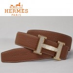 HERMES 0037 愛馬仕H字金色鑲鑽扣土黃色原版皮皮帶