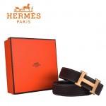 HERMES 004 愛馬仕H字金扣棕色原版皮皮帶