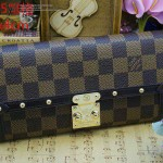 LV N60535 人氣爆款熱銷女士Venics 系列柳釘款咖色棋盤格錢包手拿包