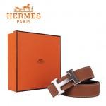 HERMES 001 愛馬仕H字銀扣土黃色原版皮皮帶