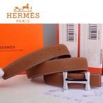 HERMES 0173 愛馬仕H字銀扣土黃色原版皮皮帶