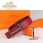HERMES 0169 愛馬仕H字槍色扣紅色原版皮皮帶