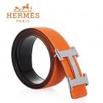 HERMES 0148 愛馬仕H字馬拉車拉絲銀扣橙色原版皮皮帶