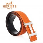 HERMES 0146 愛馬仕H字馬拉車拉絲銀間金扣橙色原版皮皮帶