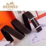 HERMES 0153 愛馬仕H字銀扣深咖色原版皮皮帶