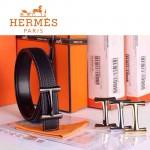 HERMES 0157 愛馬仕H字槍色扣黑色原版皮皮帶
