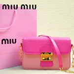 MIUMIU 0544-3 潮流百搭新款女士玫紅色拼淺粉色鏈條單肩包晚宴包