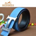 HERMES 0175 愛馬仕H字銀扣天藍色原版皮皮帶