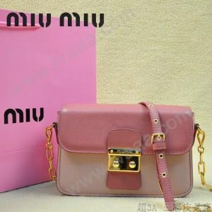 MIUMIU 0544-5 潮流百搭新款女士粉紅色拼淺粉色鏈條單肩包晚宴包