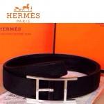 HERMES 0171 愛馬仕H字銀色針扣黑色原版皮皮帶