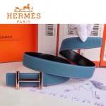 HERMES 0163 愛馬仕H字金扣天藍色原版皮皮帶