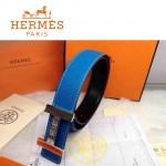HERMES 0167 愛馬仕H字鑲鑽銀扣藍色原版皮皮帶
