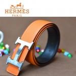 HERMES 0176 愛馬仕H字銀扣橙色原版皮皮帶