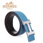 HERMES 0147 愛馬仕H字馬拉車拉絲銀扣天藍色原版皮皮帶