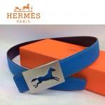 HERMES 0161 愛馬仕馬型鏤空銀扣天藍色原版皮皮帶