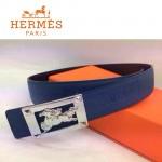 HERMES 0168 愛馬仕馬型銀扣藍色原版皮皮帶
