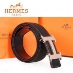 HERMES 0143 愛馬仕H字魚皮紋金扣黑色原版皮皮帶