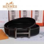 HERMES 0156 愛馬仕H字銀扣深咖色原版皮皮帶