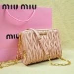 MIUMIU 0532-4 時尚休閒淺粉色進口小羊皮鏈條女士單肩包