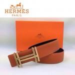 HERMES 0164 愛馬仕H字鑲黑白鑽金扣橙色原版皮皮帶