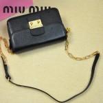MIUMIU 0544 潮流百搭新款女士黑色鏈條單肩包晚宴包