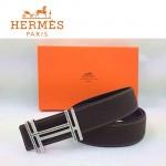 HERMES 0172 愛馬仕H字鑲黑白鑽銀扣深咖色原版皮皮帶
