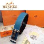 HERMES 0170 愛馬仕H字鑲鑽銀扣天藍色原版皮皮帶