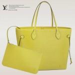 LV M40956 新款嫩黃色Neverfull Epi 水波紋中號單肩包購物袋