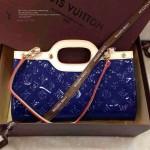 LV M91373 熱銷新款電光藍漆皮壓花女包女士時尚單肩包手提包
