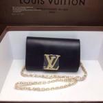 LV M94336-3 歐美時尚女士黑色全皮鏈條牛斜挎女包晚宴包