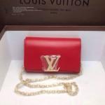 LV M94336-5 歐美時尚女士紅色全皮鏈條斜挎女包晚宴包