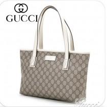 新款GUCCI/古奇 白色帆布印花單肩手提女包/購物袋 211138