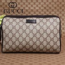 專櫃秋冬新款 Gucci/古馳新款古奇棕色帆布斜挎包 189818