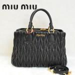 MIU MIU 0803-3 人氣熱銷單品女士黑色進口小羊皮手提單肩包