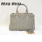 MIU MIU 0803-4 人氣熱銷單品女士淺灰色進口小羊皮手提單肩包